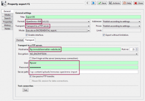 Screenshot: OpenImmo Export Dialog