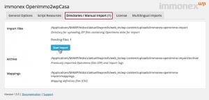 Screenshot: Directories / Manual Import Tab