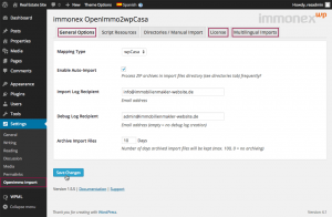 Screenshot: immonex OpenImmo2wpCasa Settings