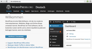 Screenshot: de.wordpress.org-Startseite
