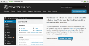 Screenshot: WordPress.org Front Page