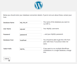 Screenshot: WordPress Install Dialog