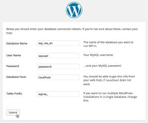 Screenshot: WordPress Install Dialog