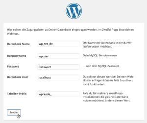 Screenshot: WordPress-Installation