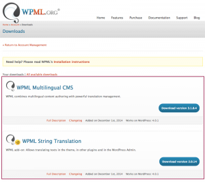 Screenshot: WPML Downloads