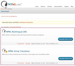 Screenshot: WPML Downloads