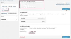 Screenshot: Erstellung der deutschen Navigation
