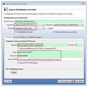 Screenshot: OpenImmo-Export-Dialog