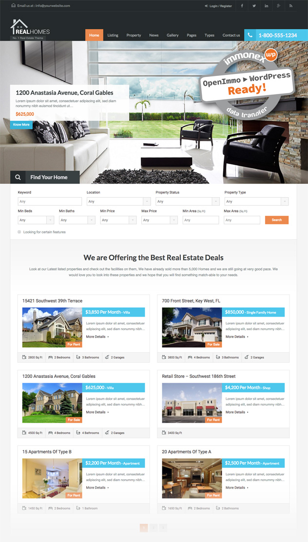 Screenshot: Real Homes Home Page