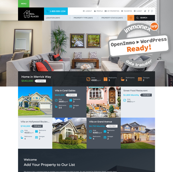 Screenshot: Real Places Real Estate Theme for WordPress