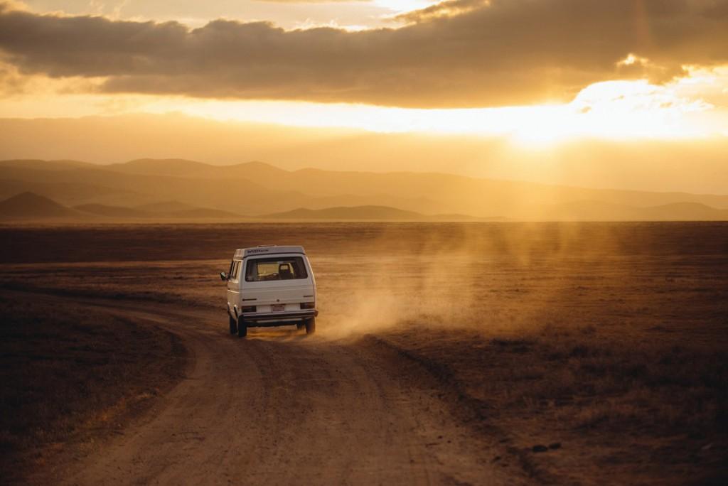 Photo: Car on a dusty way