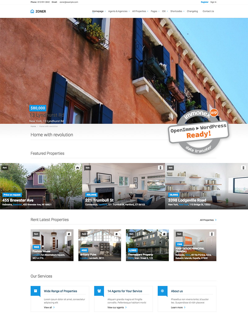 Screenshot: Zoner Real Estate WordPress Theme