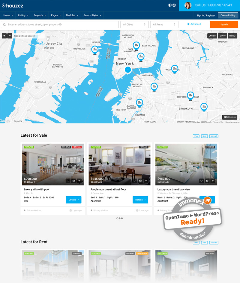 Screenshot: Houzez Immobilien-WordPress-Theme
