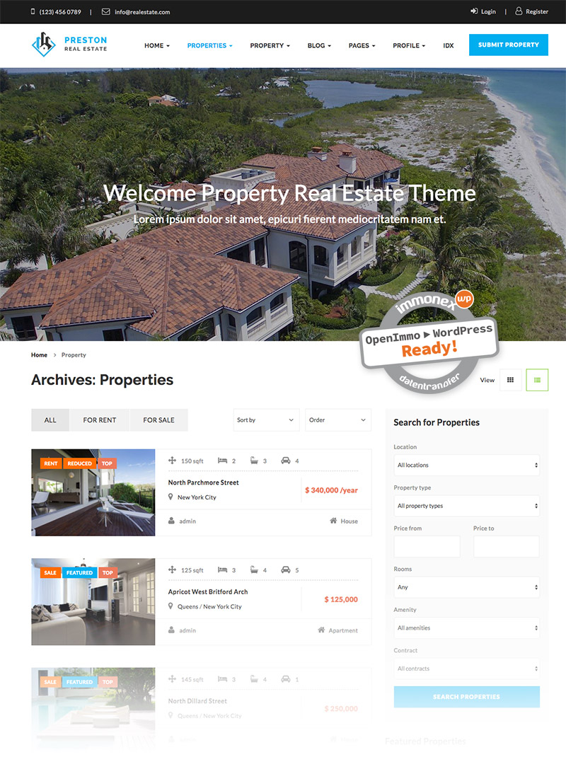 Screenshot: Preston Immobilien-WordPress-Theme