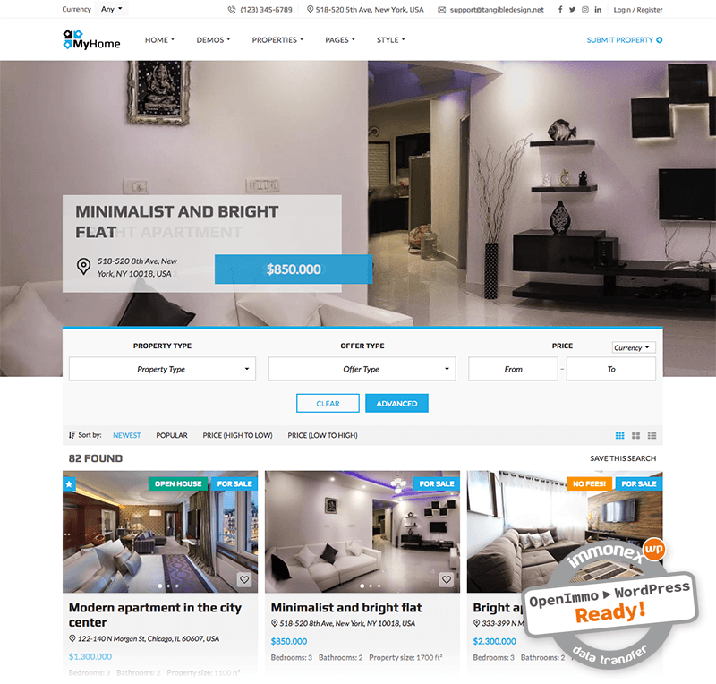 Screenshot: OpenImmo Import for MyHome WordPress Real Estate Theme
