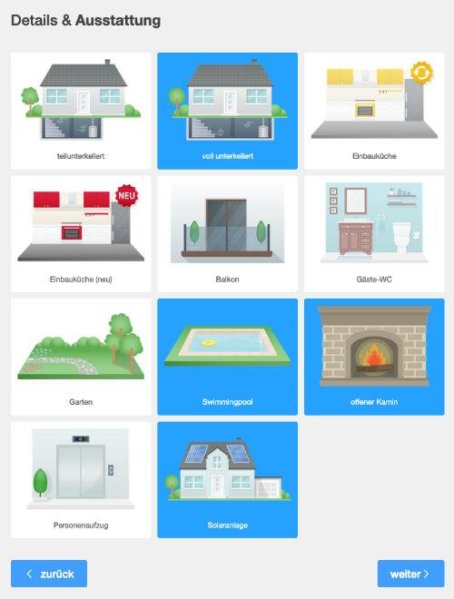 Screenshot: Auswahl der Immobilien-Ausstattungsmerkmale