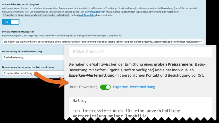 Screenshot: Option Auswahl der Wertermittlungsart im WordPress-Backend