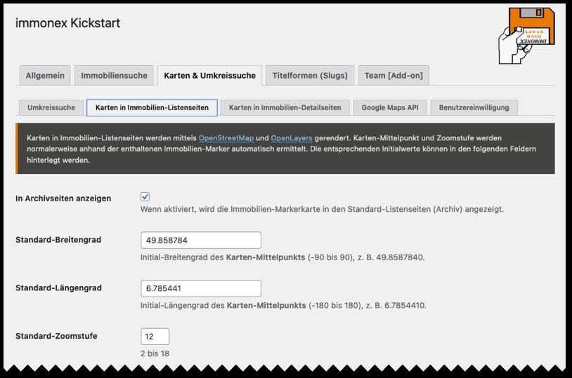 Screenshot: Kickstart-Plugin-Optionen im WordPress-Backend
