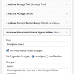 Screenshot: immonex-Widget-Optionen