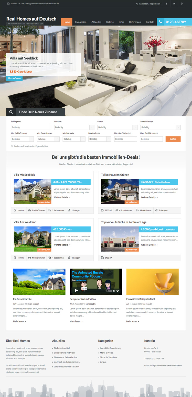 German Translations/Optimizations for Real Homes WP Theme
