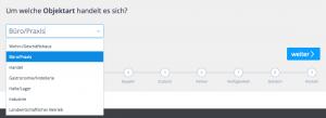 Screenshot: Auswahl des Immobilientyps (Gewerbeobjekte)