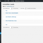 Screenshot: Lead-Übersicht im WordPress-Backend