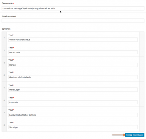 Screenshot: Konfiguration einer Dropdown-Auswahlbox im WP-Backend