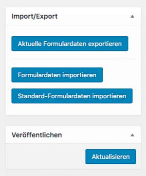 Screenshot: Optionen zum Speichern und Laden von Formularkonfigurationen
