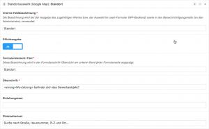 Screenshot: Konfiguration eines Standortauswahl-Elements im WP-Backend