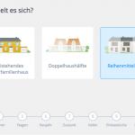 Screenshot: Auswahl des Haustyps (Heeba-Theme)