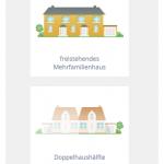 Screenshot: Auswahl des Haustyps (Responsive)