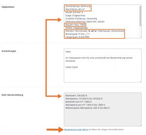 Screenshot: Wertermittlungsdaten im Lead-Formular