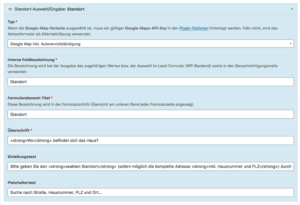 Screenshot: Konfiguration des Standort-Elements im WP-Backend