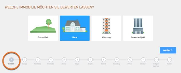 Screenshot: sekundäre Immobilientyp-Auswahl